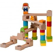Marble Run - Wooden Marble Run/Maze Construction Set - 40 Piece Set - Marbles Included - Educational Toy - Fun Building Game For Kids