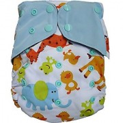 Tinytots Charcoal Bamboo Pocket Diaper with Insert - Animal Print