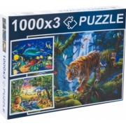 Puzzle 3 in 1 imagini cartea junglei si viata acvatica 3000 piese Topi Dreams