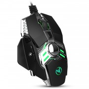 HXSJ J200 Wired 7-button 6400 DPI Adjustable LED Variable Light USB Computer Mouse Gamer Mice - Black