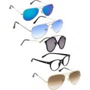 David Martin Aviator Sunglasses(Grey, Brown, Blue, Clear)