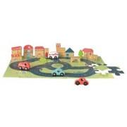 Puzzle gigant oras Egmont, cu vehicule si cuburi din lemn, 60 piese