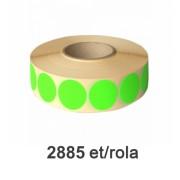 Role de etichete semilucioase rotunde verzi fluo 49mm, 2885 et./rola