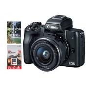 Canon Cámara Canon EOS M50 EF-M 15-45mm f/3.5-6.3 IS STM + Tarjeta SDHC de 16gb UHS-I, Negro