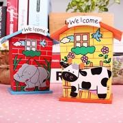 Kinder Kollege Set of 2 Piggy Banks, Wooden Animal Design Piggy Bank for Kids, Boys, Girls, Birthday Return Gift for Kids, Money Box/Saving Box/Home Decor/Piggy Bank/Coin Box/Birthday Return Gift Set (Any TWO design out of 6 Piggy Bank is sent Randomly)