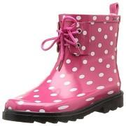 Cizme de cauciuc Wellington roz cu buline albe