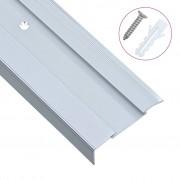 vidaXL Г-образни ръбове за стъпала, 15 бр, алуминий, 100 см, сребристи