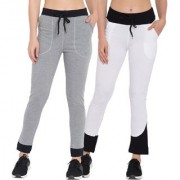 Cliths Women's Cotton Solid Track Jogger Pack of 2/Lowers For Women/Girls-Grey Black White Black