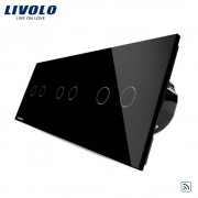 Intrerupator dublu+dublu+dublu cu touch Wireless Livolo din sticla, negru