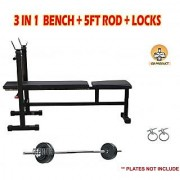 GB 3 IN 1 BENCH + 5FT ROD + LOCKS