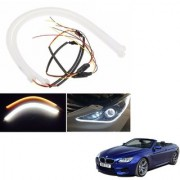 Auto Addict 2PCS 60cm (24 ) Car Headlight LED Tube Strip Flexible DRL Daytime Running Silica Gel Strip Light DC 12V Soft Tube Lamp Fancy Light (Yellow White) For BMW 6 Series