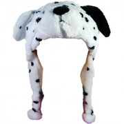 Soft Faux Fur Plush Stuffed Cute Dog Animal Costume Cap with Toy Hood for Boys and Girls (White Free Size)