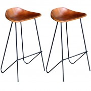 vidaXL Бар столове, 2 бр, естествена кожа, кафяви