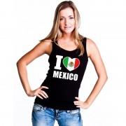 Bellatio Decorations Zwart I love Mexico fan singlet shirt/ tanktop dames M - Feestshirts