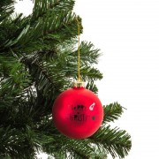 Xenos Kerstbal Merry Christmas muts - 8 cm - rood
