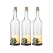 Lunartec 3 bouteilles de vin décoratives avec bougie LED vacillante - Flocon