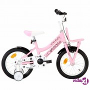 vidaXL Dječji bicikl s prednjim nosačem 14 inča bijelo-ružičasti