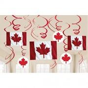"""amscan Kit de decoración de espirales de papel de aluminio""""Canada Day"""", 9 unidades"""