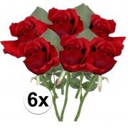Bellatio flowers & plants 6x Rode rozen kunstbloemen 30 cm