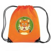 Shoppartners Tijgers rugtas / gymtas oranje voor kinderen