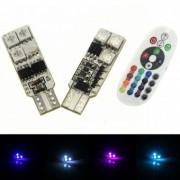 Bec pozitie RGB cu telecomanda Stroboscop - T10, 6 LED SMD 12V (pret/set)