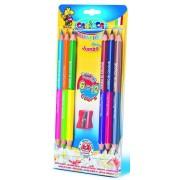 Creioane colorate hexagonale, bicolor, 6 buc/blister, CARIOCA Jumbo Bi-color