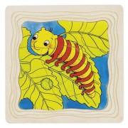 Drewniana układanka - puzzle warstwowe, etapy rozwoju motyla, 4 obrazki, 3 lata +