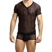 L'Homme Invisible Arabesque V Neck Short Sleeved T Shirt Black MY61D-ARA-001