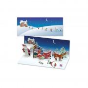 Felicitare 3d panoramics de iarna ajutoarele lui mos craciun