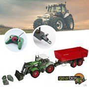 Bid Buy Direct Remote Controlled Tractor with Hanger 1: 28 Channel Radio Control 8 Channels Fully Functional Rc Farm | Tipping Trailer, Front Loader and Perfect Gift Set