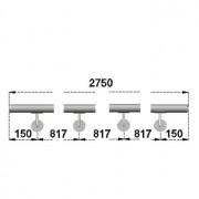 Nerezové madlo s držáky na zeď 2,75-3,5m