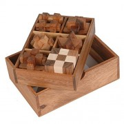 Handmade Puzzle Sets - 6 Wooden Puzzle Gift Set In A Wooden Box - Handmade Wooden Puzzles for Adults