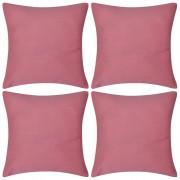 vidaXL Huse de pernă din bumbac, 80 x 80 cm, roz, 4 buc.