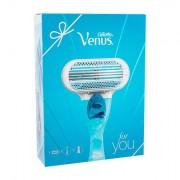 Gillette Venus sada holicí strojek s jednou hlavicí 1 ks + gel na holení Satin Care Sensitive 75 ml pro ženy