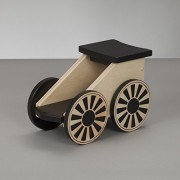 South Bend Woodworks Kids Wooden Riding Toy, Ride On Train Express Natural/Black Coal Car