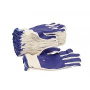Set 10 perechi manusi tricotate albastru marimea L amestec latex si PVC rezistente acizi detergenti