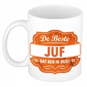 Bellatio Decorations De beste juf cadeau koffiemok / theebeker oranje embleem 300 ml