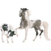 Breyer Pinto And Foal Grey Black