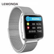 LEMONDA BL89 Waterproof Smart Wristband Heart Rate Monitor Sports Bracelet Fitness Tracker Metal Strap - Silver