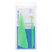 Curaprox Ortho Pocket Set set na starostlivosť o zuby so strojčekom unisex Medzizubná kefka 07 + medzizubná kefka 14 + medzizubná kefka 18 + držiak UHS 1 ks + ortodontický vosk 1 ks + puzdro
