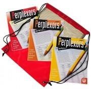 Perplexors Challenging Logic Puzzles (SET 1)_ 3 Book Bundle _ Bonus Black Mesh / Red Nylon Drawstring Carry Bag _ Bundled Items