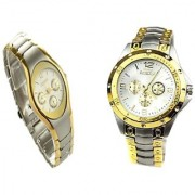 IIK Black-Gold Men And Rosra Gold - Silver Women Couple Watches for Men and Women