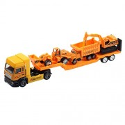 Aivtalk Construction Vehicle Pull Back Transport Trailer Car Carrier Truck Toy for Boys (includes 3 * Trucks) - Yellow