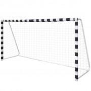vidaXL Poartă de fotbal din oțel cu plasă pentru activități în aer liber