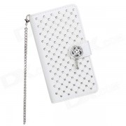 Elegante protectora Flip-Open PU Leather + PC caso con soporte para LG Optimus G2 - Blanco