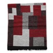 Eșarfă bărbătească din lână, în culoarea gri-roșu 9973