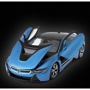 Rastar 1:24 Diecast BMW i8 Concept Vision Car with Opening Doors and Detailed Interior and Exterior, Blue, TOYSHINE - 60