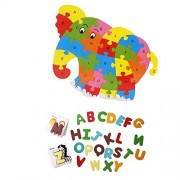 Segolike 78Pcs/Lot Wooden Alphabet Animal Picture Card Puzzle Wooden Letters Puzzles and Wooden Elephant Puzzle Alphabet Jigsaw Learning Toy