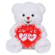 15 Inch White Teddy Bear holding Love You Heart