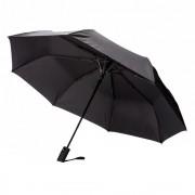 Umbrela 21 inch pliabila, cu deschidere automata, Everestus, DE, poliester, fibra de sticla, negru, saculet de calatorie inclus